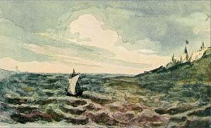 М Ю Лермонтов, Акварель, Морской вид с парусной лодкой, Парус