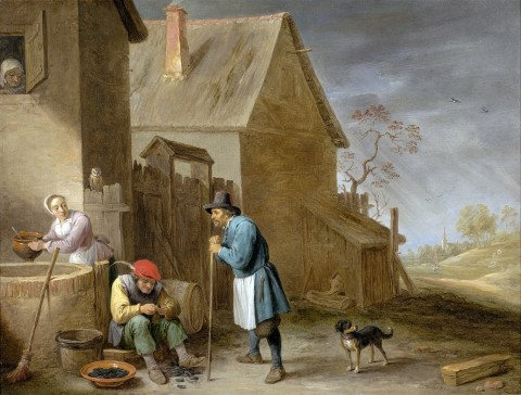UNI - 0205 -- David Teniers The Younger - A Peasant Eating Mussels At A Farm
