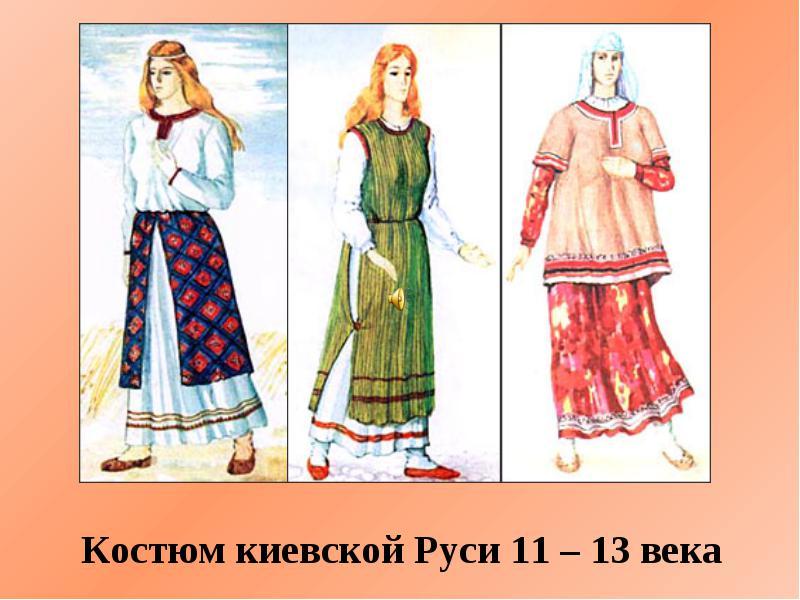 русский костюм 13 века