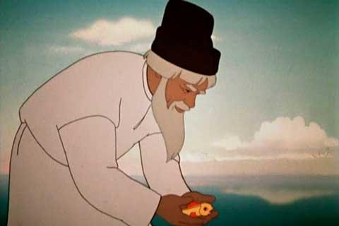 А.С. Пушкин. «Сказка о рыбаке и рыбке». Кадр: Союзмультфильм, 1950 г.