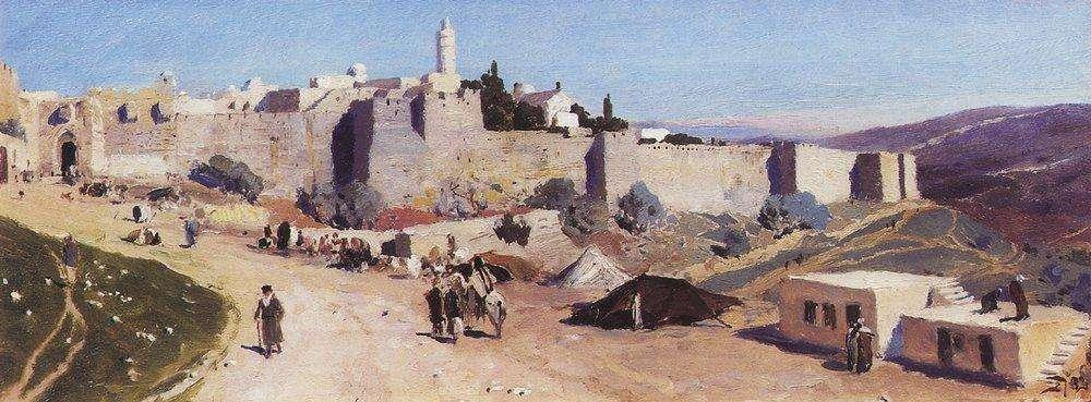 Иерусалим-с-западной-стороны.-Яффские-ворота-и-цитадель.-1882